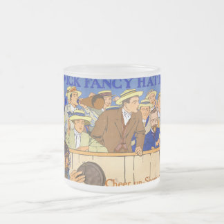 Vintage Wick Fancy Hat Band Advertisement 10 Oz Frosted Glass Coffee Mug