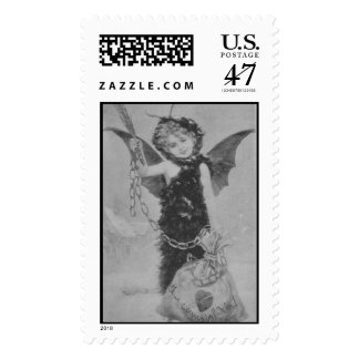Vintage wicked cupid angel for cheating hearts postage stamp
