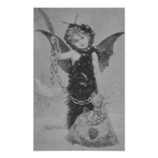 Vintage wicked cupid angel for cheating hearts print