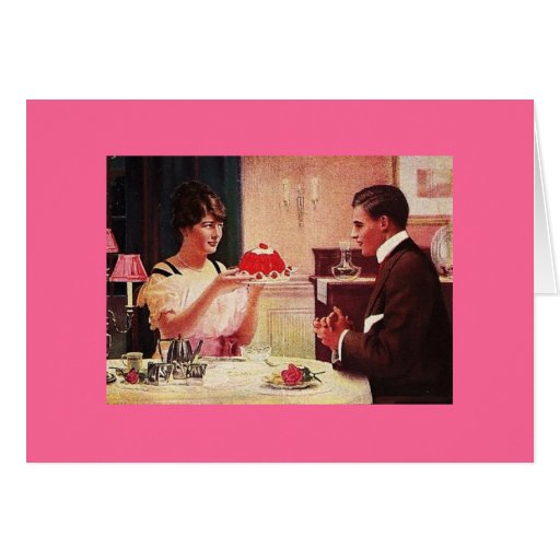Vintage Wife Has Dessert for Hubby Greeting Card