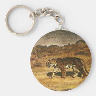 Vintage Wild Animal, Bengal Tiger Roaming Plains Keychain