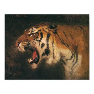 Vintage Wild Animal, Bengal Tiger Roar Roaring 4.25x5.5 Paper Invitation Card