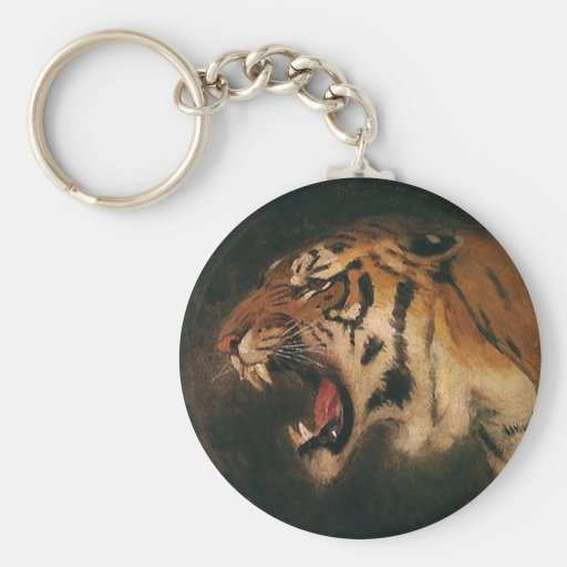 Vintage Wild Animal, Bengal Tiger Roar Roaring Keychain