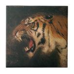 Vintage Wild Animal, Bengal Tiger Roar Roaring Ceramic Tile