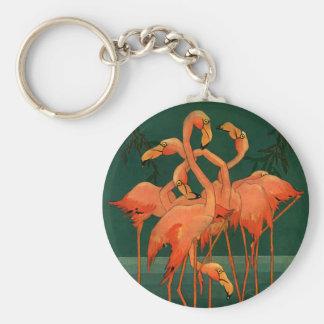 Vintage Wild Animal Birds, Tropical Pink Flamingos Basic Round Button Keychain