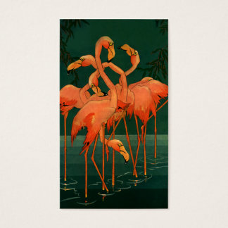 Vintage Wild Animal Birds, Tropical Pink Flamingos Business Card