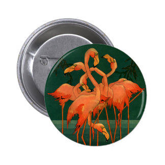 Vintage Wild Animal Birds, Tropical Pink Flamingos Button