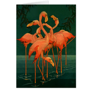Vintage Wild Animal Birds, Tropical Pink Flamingos Card