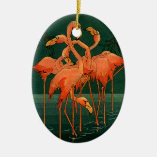 Vintage Wild Animal Birds, Tropical Pink Flamingos Ceramic Ornament