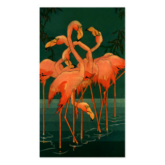 Vintage Wild Animal Birds, Tropical Pink Flamingos Double-Sided Standard Business Cards (Pack Of 100)