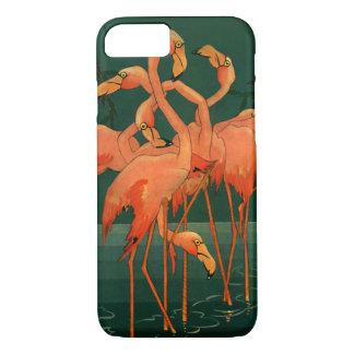 Vintage Wild Animal Birds, Tropical Pink Flamingos iPhone 8/7 Case