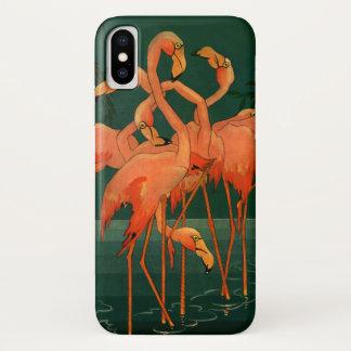 Vintage Wild Animal Birds, Tropical Pink Flamingos iPhone X Case