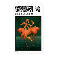 Vintage Wild Animal Birds, Tropical Pink Flamingos Postage
