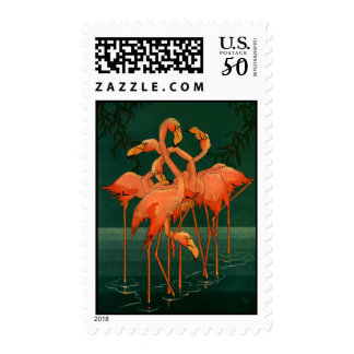 Vintage Wild Animal Birds, Tropical Pink Flamingos Postage