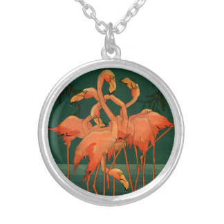 Vintage Wild Animal Birds, Tropical Pink Flamingos Round Pendant Necklace