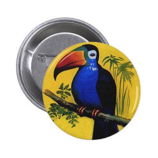 Vintage Wild Animal Birds, Tropical Toucan in Tree Button