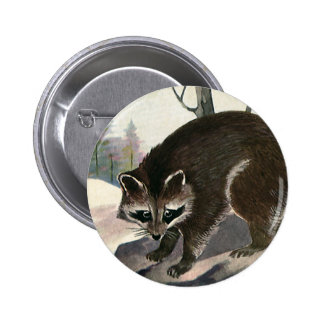Vintage Wild Animal Forest Creature, Raccoon Buttons