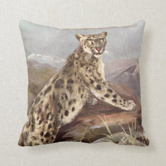 Vintage Wild Animal, Snow Leopard by CE Swan Throw Pillow