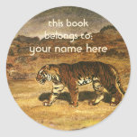 Vintage Wild Animal, Tiger Asian Plains Bookplate Round Stickers