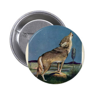 Vintage Wild Animal, Wolf Howling at the Moon Button