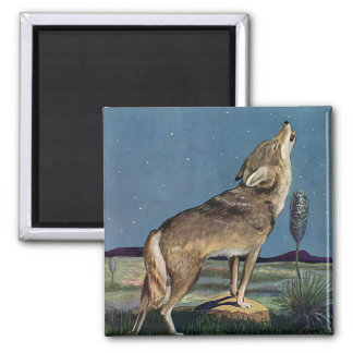 Vintage Wild Animal, Wolf Howling at the Moon Magnet