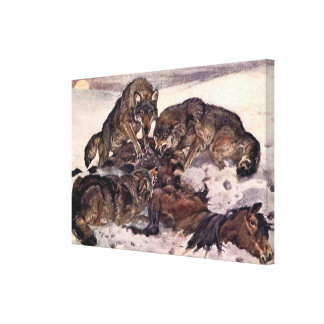 Vintage Wild Animal, Wolves by Winifred Austen Gallery Wrapped Canvas