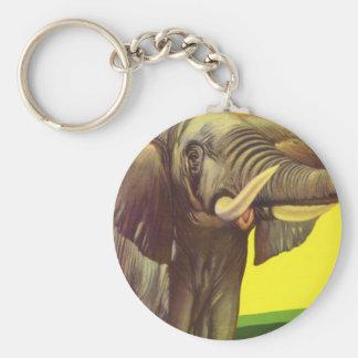 Vintage Wild Animals, African Elephant with Sunset Keychain