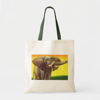 Vintage Wild Animals, African Elephant with Sunset Tote Bag