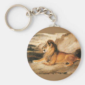 Vintage Wild Animals, African Lion on the Savannah Keychain