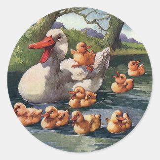 Vintage Wild Animals Birds, Duck Ducklings Family Stickers