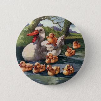 Vintage Wild Animals Birds, Ducklings Duck Family Button