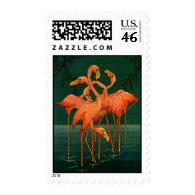 Vintage Wild Animals Birds, Pink Flamingos Tropics Stamp