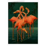 Vintage Wild Animals Birds, Pink Flamingos Tropics Stationery Note Card