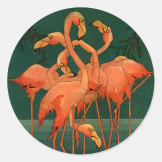 Vintage Wild Animals Birds, Pink Flamingos Tropics Round Sticker