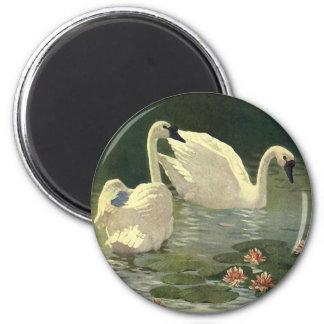 Vintage Wild Animals Birds, Victorian White Swans 2 Inch Round Magnet