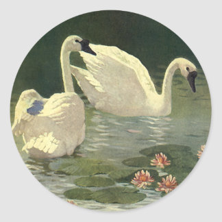 Vintage Wild Animals Birds, Victorian White Swans Classic Round Sticker