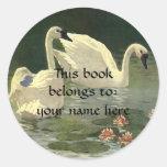 Vintage Wild Animals Birds, Victorian White Swans Classic Round Sticker