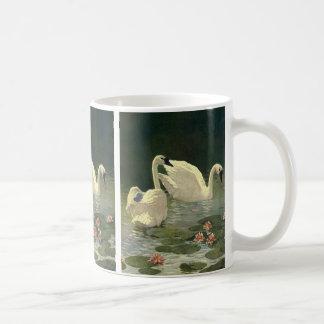 Vintage Wild Animals Birds, Victorian White Swans Coffee Mug