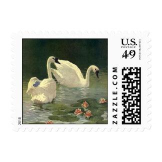 Vintage Wild Animals Birds, Victorian White Swans Postage