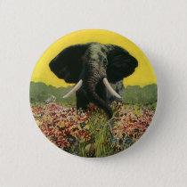Vintage Wild Animals, Cobra Snake African Elephant Button