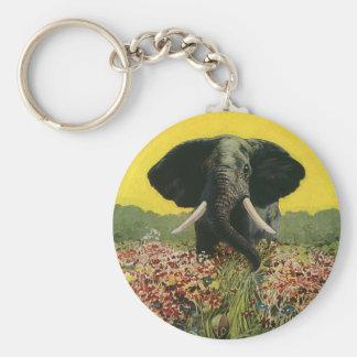 Vintage Wild Animals, Cobra Snake African Elephant Keychain