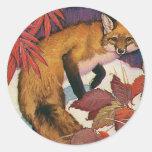 Vintage Wild Animals, Forest Creature, Red Fox Classic Round Sticker