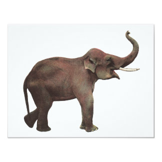 Vintage Wild Animals, Good Luck Asian Elephants Card
