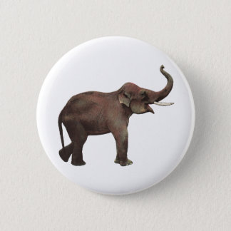 Vintage Wild Animals, Good Luck Asian Elephants Pinback Button