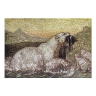 Vintage Wild Animals, Polar Bears by Louis Sargent Poster