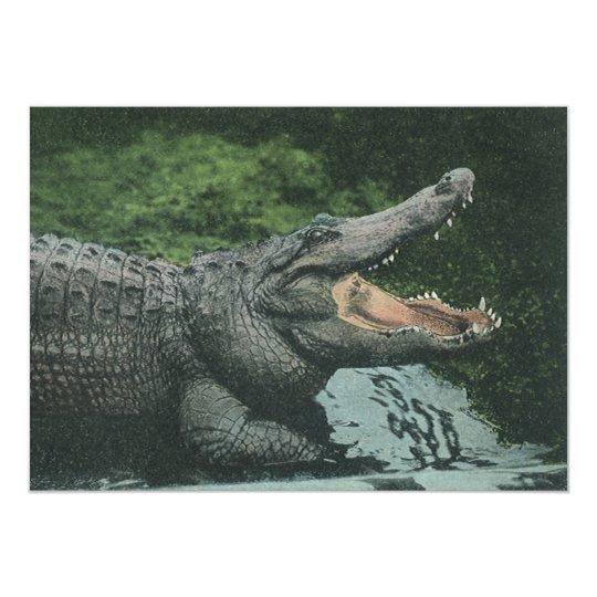 Vintage Wild Animals Reptiles Crocodile Invitation