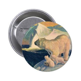 Vintage Wild Arctic Animals, Polar Bears Icebergs Button
