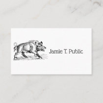 Vintage Wild Boar Drawing BW #2 Business Card