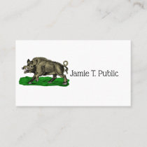 Vintage Wild Boar Drawing BW #3C Business Card