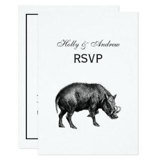 Vintage Wild Boar Drawing BW Card